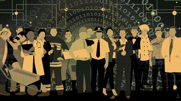 verschiedene Berufsgruppen des öffentlichen Dienstes vor einem digitalisierten Hintergrund