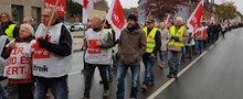 Ein Demonstrationszug von SSK-Beschäftigten