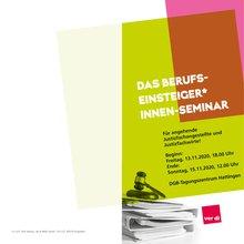 Das Cover des Flyers für das Berufseinsteiger*innen-Seminar Justiz NRW