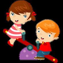 Die Zeichnung von zwei Kindern die auf eine Wippe spielen.