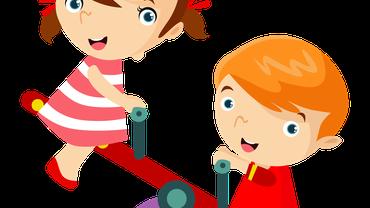Die Zeichnung von zwei Kindern auf einer Wippe.